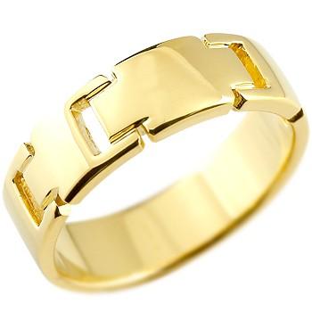 メンズ クロス リング 指輪 ピンキーリング 地金リング 幅広指輪 イエローゴールドk18 十字架 シンプル 宝石なし 男性用