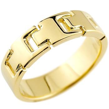 メンズ リング 指輪 ピンキーリング 地金リング 幅広指輪 イエローゴールドk18 シンプル 宝石なし 男性用