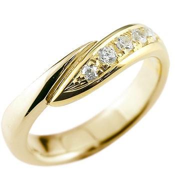 メンズ ダイヤモンド リング 指輪 ピンキーリング ダイヤ ダイヤモンドリング イエローゴールドk18 スパイラル ウェーブリング 18金 男性用