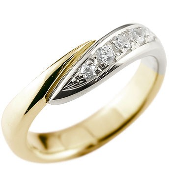 メンズ ダイヤモンド リング 指輪 コンビリング ピンキーリング ダイヤ ダイヤモンドリング イエローゴールドk18 プラチナ スパイラル ウェーブリング 男性用