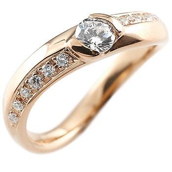 ダイヤモンド ピンクゴールドk18 リング 指輪 ダイヤ ダイヤモンドリング 大粒  レディース
