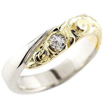 メンズ ハワイアンジュエリー  リング プラチナ イエローゴールドk18 コンビリング 指輪 ハワイアンリング スパイラル 男性用