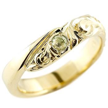 ハワイアンジュエリー イエローゴールドリング 指輪 ハワイアンリング スパイラル k10 男性用