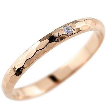 タンザナイト ピンキーリング ピンクゴールドk18 指輪 一粒 12月誕生石 18金
