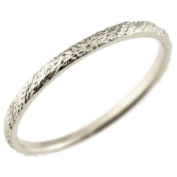 ピンキーリング ホワイトゴールドk18 極細 18金 華奢 アンティーク ストレート 指輪