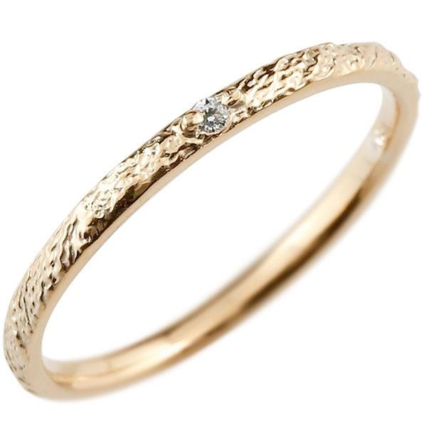 ダイヤモンド ピンキーリング ダイヤ ピンクゴールドk18 極細 18金 華奢 アンティーク ストレート 指輪