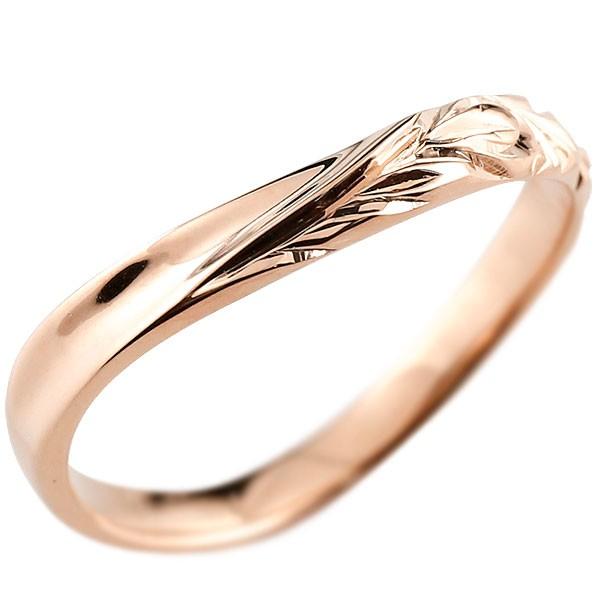 ハワイアンジュエリー ピンクゴールドリング 指輪 ハワイアンリング V字 k10 男性用 メンズ