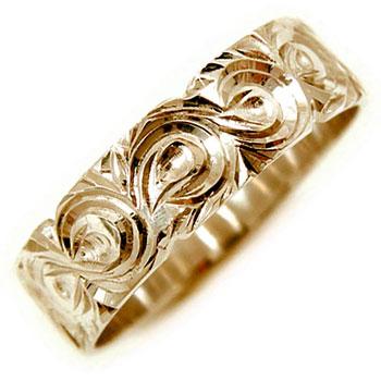 【送料無料・結婚指輪】ハワイアンリングピンクゴールドK18指輪