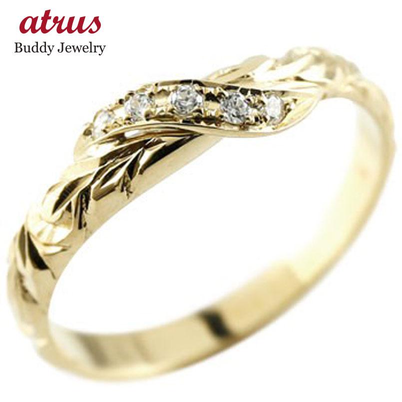 ハワイアンジュエリー ピンキーリング ダイヤモンド イエローゴールドk18 リング 指輪 ハワイアンリング ダイヤ k18 18金 スパイラル 18k