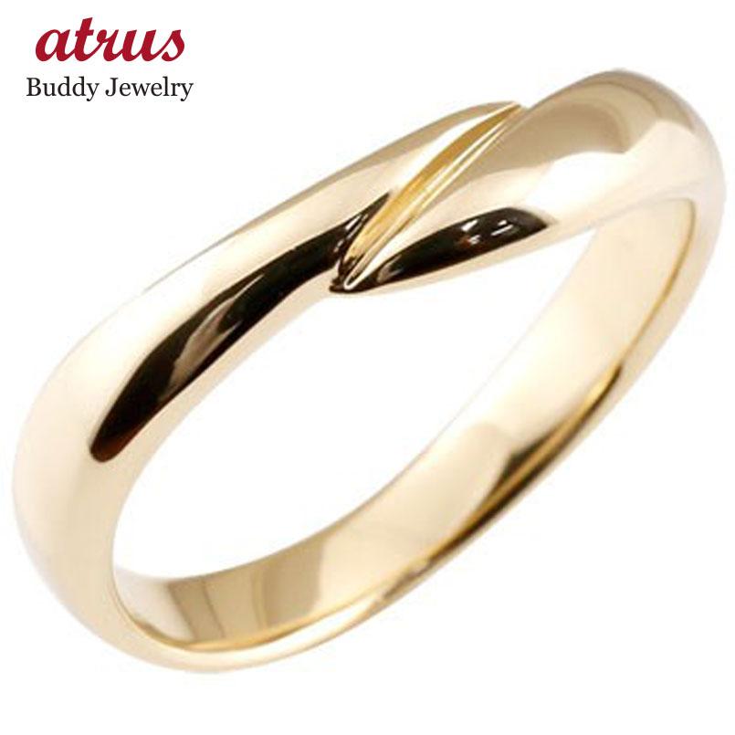 メンズ リング 指輪 イエローゴールドk10 ピンキーリング 地金リング 宝石なし スパイラル ウェーブリング 10金