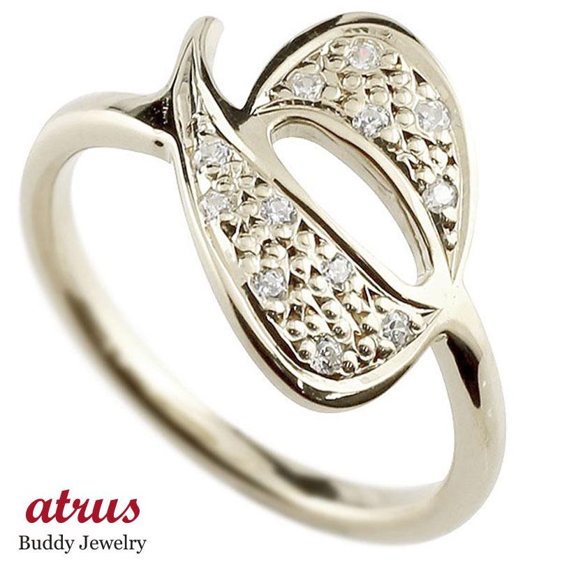 ナンバー No.6 キュービックジルコニア ホワイトゴールド k18 リング 指輪 数字 ピンキーリング
