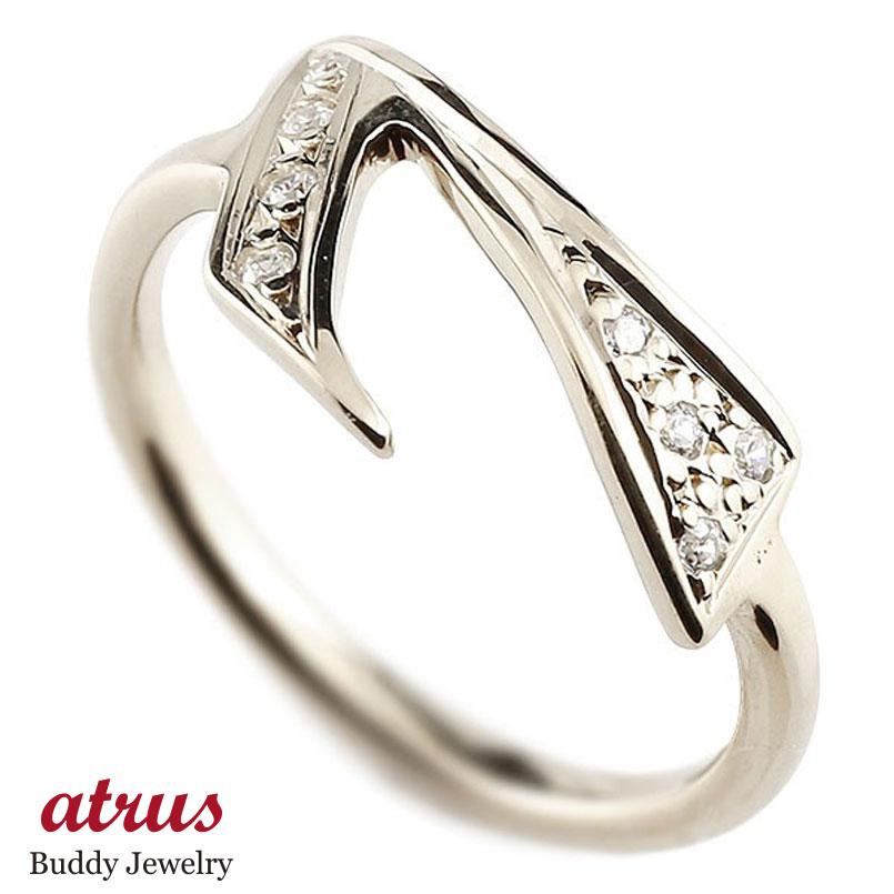 ナンバー No.7 キュービックジルコニア ホワイトゴールド k18 リング 指輪 数字 ピンキーリング