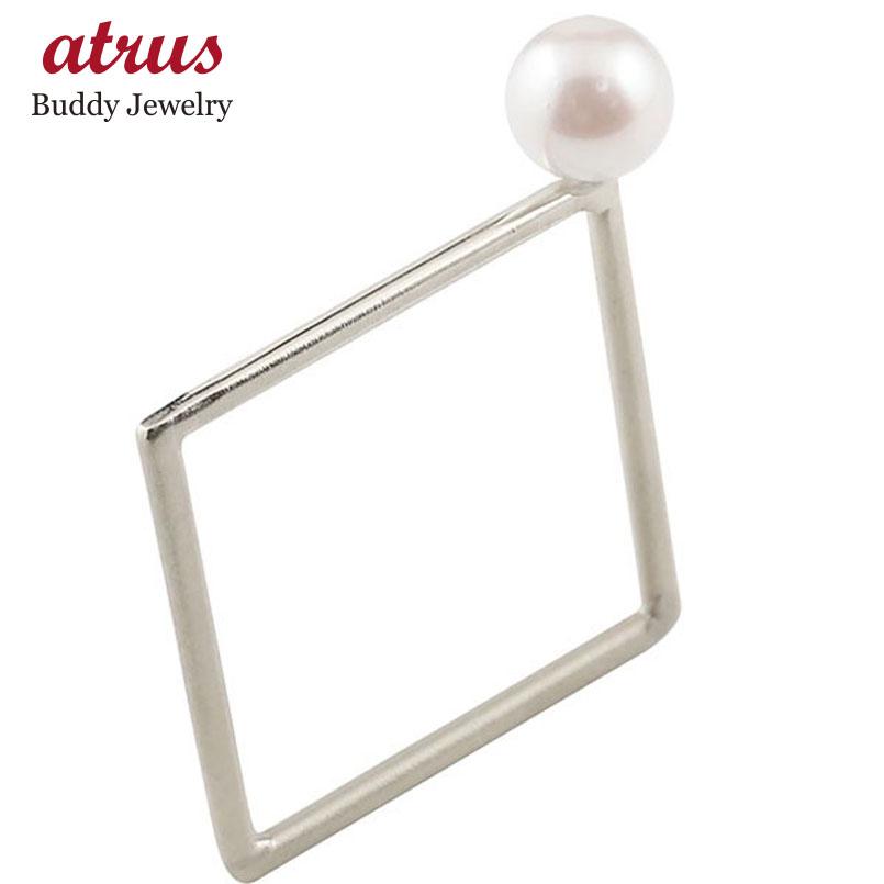 リング アコヤパール スクエア ホワイトゴールドk18 指輪 ピンキーリング 四角 ホーニング