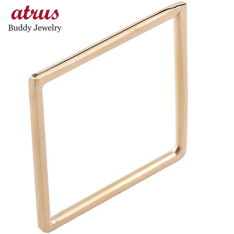 リング スクエア ピンクゴールドk18 指輪 ピンキーリング 四角 ホーニング