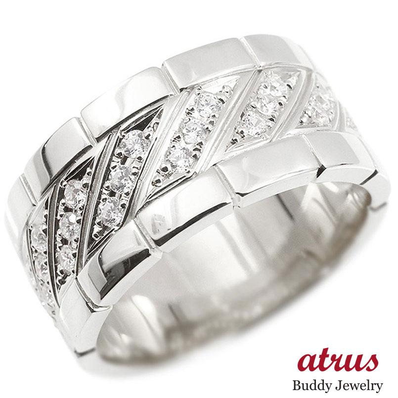 メンズ リング シルバー925 ダイヤモンド 幅広 指輪 リング ダイヤ sv925 ピンキーリング 男性用