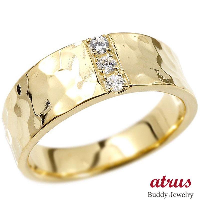 メンズ リング ダイヤモンド イエローゴールドk10 幅広 槌目 槌打ち ロック仕上げ 指輪 リング ダイヤ 10金 男性用 ピンキーリング