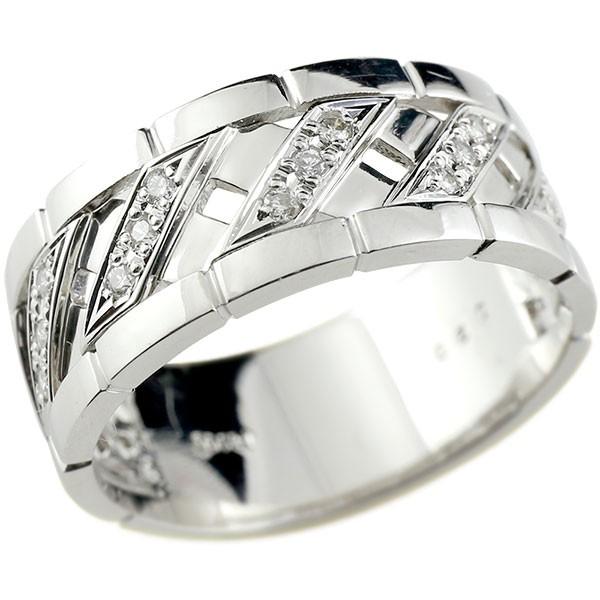 メンズリング ダイヤモンド リング  ホワイトゴールドk18 ピンキーリング 18金 指輪 指輪 ダイヤ