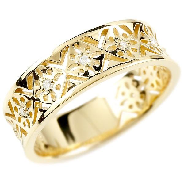 メンズ リング イエローゴールドk10 ダイヤモンド ピンキーリング ダイヤ 指輪 透かし