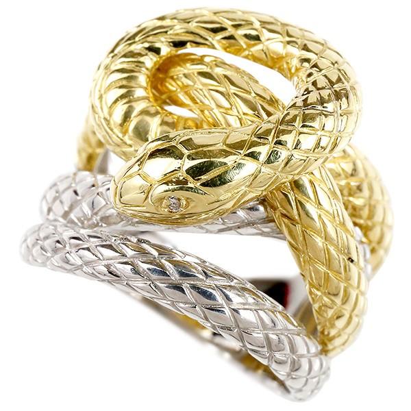 メンズ リング ダイヤモンド 蛇 プラチナ900 イエローゴールドk18 コンビ 幅広 指輪 18金 男性用 ピンキーリング スネーク ヘビ
