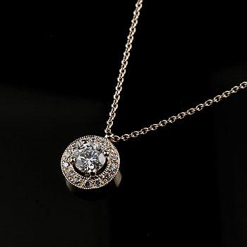 メンズジュエリー ダイヤモンド ネックレス ペンダント ホワイトゴールドk18 大粒ダイヤ 取り巻き ミル打ち
