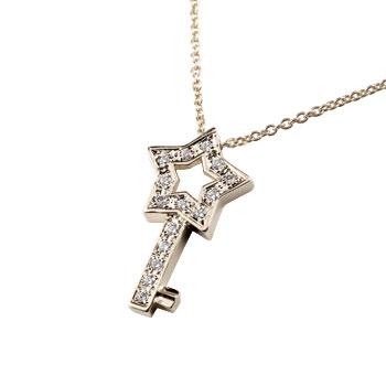 ダイヤモンド プラチナ ネックレス スターキー ペンダント ダイヤ 星 鍵 レディース