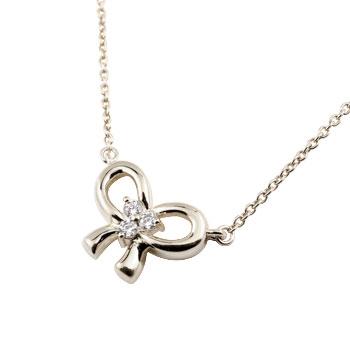ダイヤモンド プラチナ ネックレス リボン ペンダント ダイヤ レディース