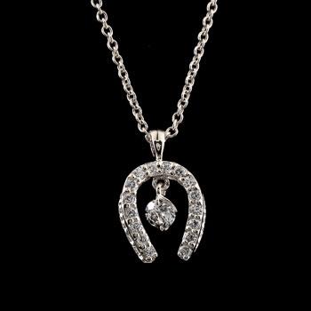 馬蹄 ダイヤモンド ネックレス ペンダント ホースシュー ダイヤ ホワイトゴールドk18 レディース