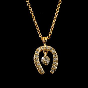 馬蹄 ダイヤモンド ネックレス ペンダント ホースシュー ダイヤ イエローゴールドk18 レディース