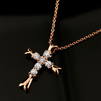 メンズジュエリー クロス ダイヤモンド ネックレス ペンダント 十字架 ダイヤ ピンクゴールドk18
