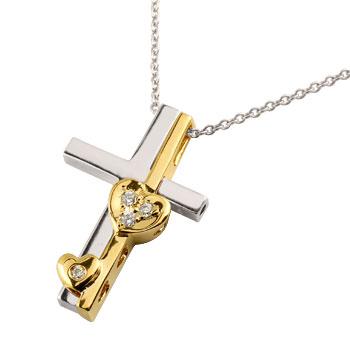 クロス ハート ダイヤモンド ネックレス ペンダント 十字架 ダイヤ セパレート ホワイトゴールドk18 イエローゴールドk18 コンビ レディース