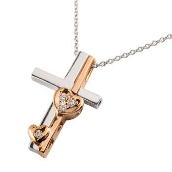 クロス ハート ダイヤモンド ネックレス ペンダント 十字架 ダイヤ セパレート ホワイトゴールドk18 ピンクゴールドk18 コンビ レディース
