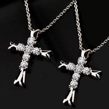 クロス ダイヤモンド ネックレス ペンダント 十字架 ダイヤ ピンクゴールドk18 レディース