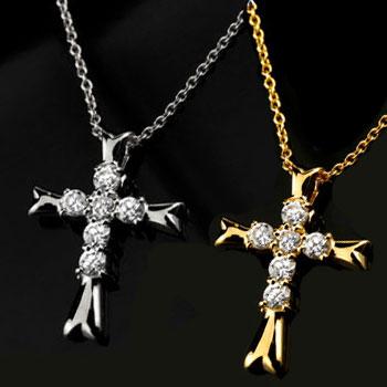 ペアネックレス ペアペンダント クロス ダイヤモンド ネックレス ペンダント イエローゴールドk18 ホワイトゴールドk18 十字架 ダイヤ レディース