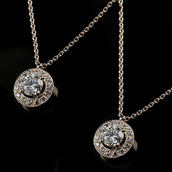 ペアネックレス ペアペンダント プラチナ ダイヤモンド ネックレス ペンダント 取り巻き ミル打ち ダイヤ
