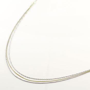 3連 ネックレス ベネチアン スクリュー カットボール イエローゴールドk18 プラチナ チェーン 鎖 レディース 40cm 地金ネックレス