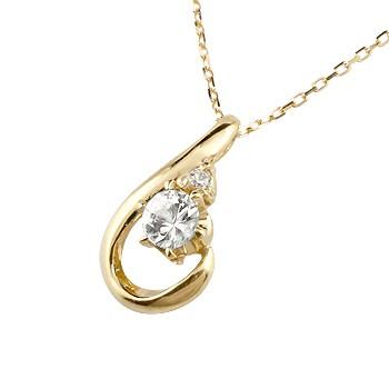 ダイヤモンド イエローゴールド ネックレス ダイヤモンド ペンダント ドロップ型 チェーン 人気 4月誕生石 k18