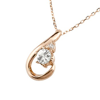 ダイヤモンド ピンクゴールド ネックレス ダイヤモンド ペンダント ドロップ型 チェーン 人気 4月誕生石 k18