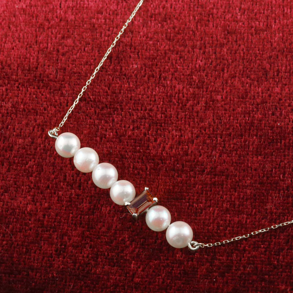 パール ネックレス 真珠 ホワイトゴールドk18 18金 レディース チェーン 人気 1月誕生石