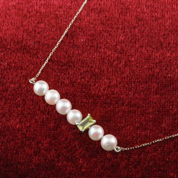パール ネックレス 真珠 ホワイトゴールドk10 10金 レディース チェーン 人気 8月誕生石