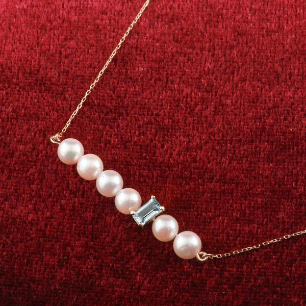 パール ネックレス 真珠 ピンクゴールドk18 18金 レディース チェーン 人気 3月誕生石