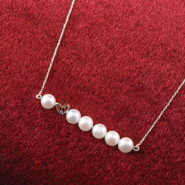 パール ネックレス 真珠 ホワイトゴールドk10 10金 レディース チェーン 人気 1月誕生石