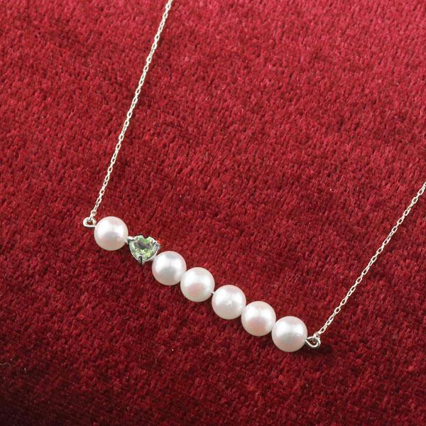 パール ネックレス 真珠 プラチナ850 レディース チェーン 人気 8月誕生石