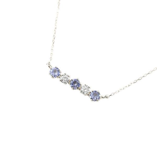 ダイヤモンド タンザナイト ネックレス 12月誕生石 ラインネックレス レディース 人気