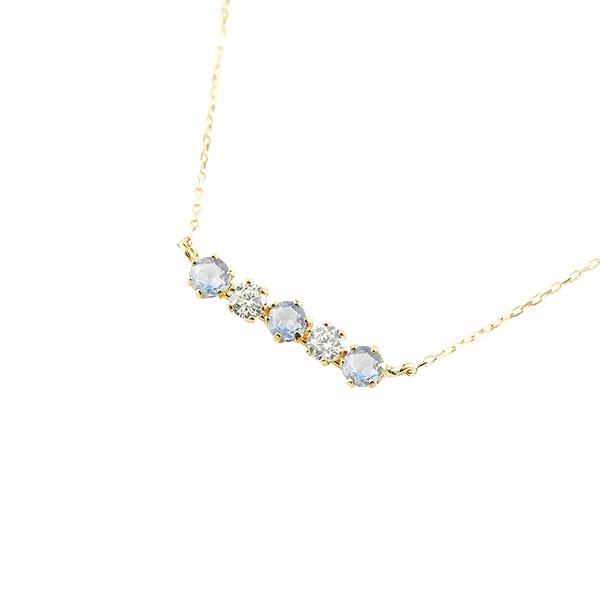 ダイヤモンド ブルームーンストーン ネックレス 6月誕生石 ラインネックレス レディース 人気