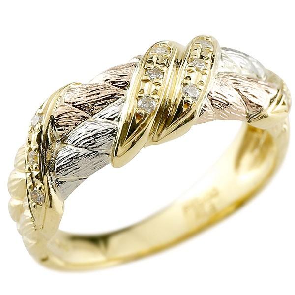 ダイヤモンド リング 3色 指輪 ダイヤ ピンキーリング スリーカラー プラチナ ゴールド アンティーク風 レディース