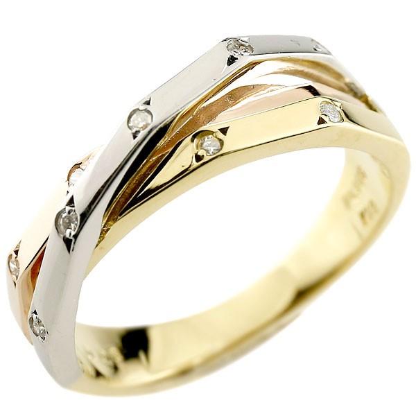 ダイヤモンド リング 3色 指輪 ダイヤ ピンキーリング スリーカラー プラチナ ゴールド レディース