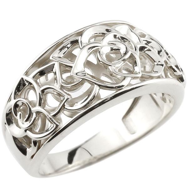 エンゲージリング ローズ バラ プラチナ リング 透かし ピンキーリング 指輪 pt900 指輪
