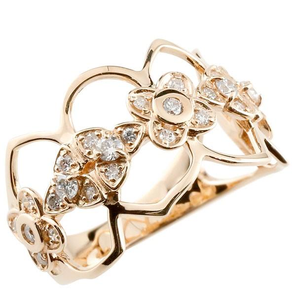 エンゲージリング フラワー ダイヤモンド リング 透かし ピンクゴールドk18 ピンキーリング 18金 指輪 指輪 ダイヤ