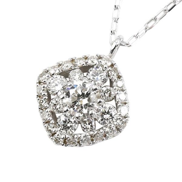 ダイヤモンド ネックレス スクエア ホワイトゴールドk18 ペンダント ダイヤ 0.3ct レディース 18k 18金 あす楽