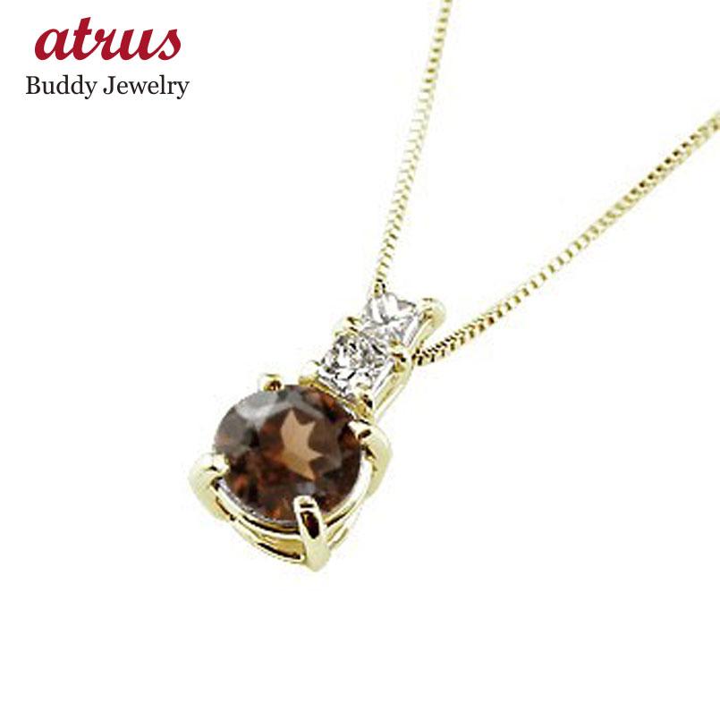 ネックレス ガーネット ペンダント ダイヤモンド イエローゴールドk18  シンプル レディース チェーン 人気 k18 18金 1月誕生石
